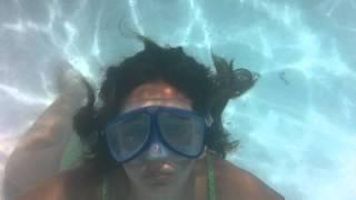 Underwater video KODAK sport.  Swimming Pool Summer vacation Fun.