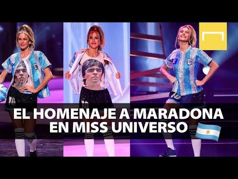 Alina Luz Akselrad y su homenaje a Diego Maradona en Miss Universo