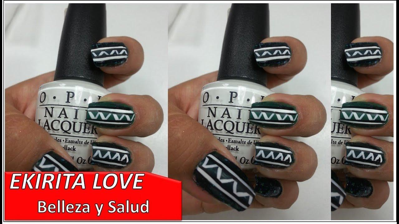 diseño de uñas en verde tribal, Unique y OPI, Ekirita Love - YouTube