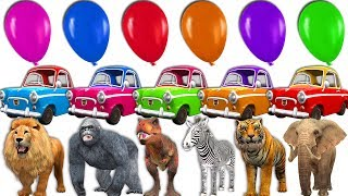 Funny Baby Power Wheels Ride In Car In Zoo Animals Toys With Giant Balloons - Learn Colors For Kids