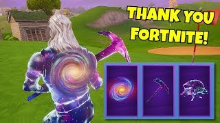fortnite GAVE me the NEW GALAXY SKIN ITEMS & i hit my best clip with it...