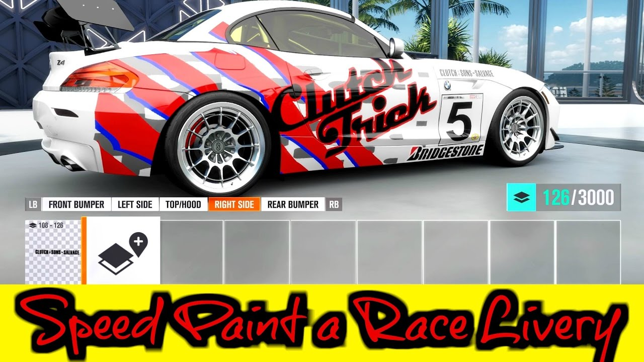 Speed Painting A Race Car Livery Forza Horizon Youtube