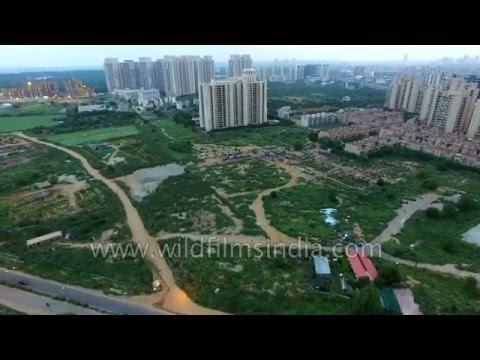 Aerial journey over DLF Golf Course in Gurgaon - millennium city of India