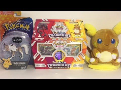 Pokemon Raichu Plush Lycanroc Action Figure TCG Raichu VS Lycanroc Trainer Kit Opening & Review