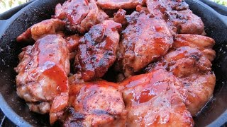 Awesome Boneless Chicken Thighs Grilled With You Know You Want It BBQ Sauce