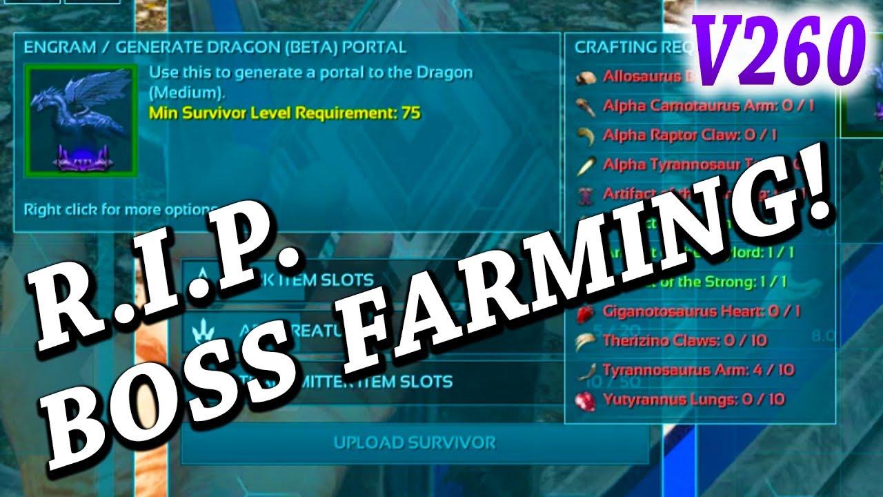 ARK BOSS SUMMON COST CHANGE!! RIP BOSS FARMING!! Ark Survival Evolved  Update V260