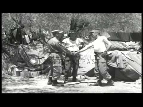 US Army Chaplain Corps soldiers beside a tent area in Beirut, Lebanon during the ...HD Stock Footage