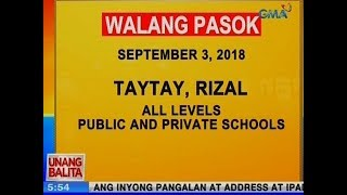 UB: Taytay, Rizal, walang pasok ngayong Lunes, all levels, private and public