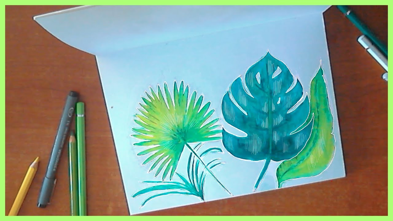 How To Draw Tropical Leaves Youtube Web banner, tropical leaves discount banners, summer sales poster png clipart. how to draw tropical leaves