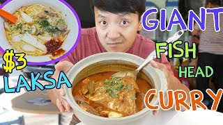 AMAZING $3 Laksa in Singapore & GIANT Curry Fish Head