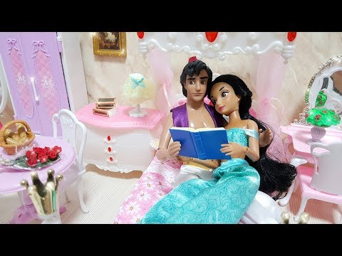 Barbie Ken Bedroom Pink House Morning Routine Princess Jasmine Doll Dress Up