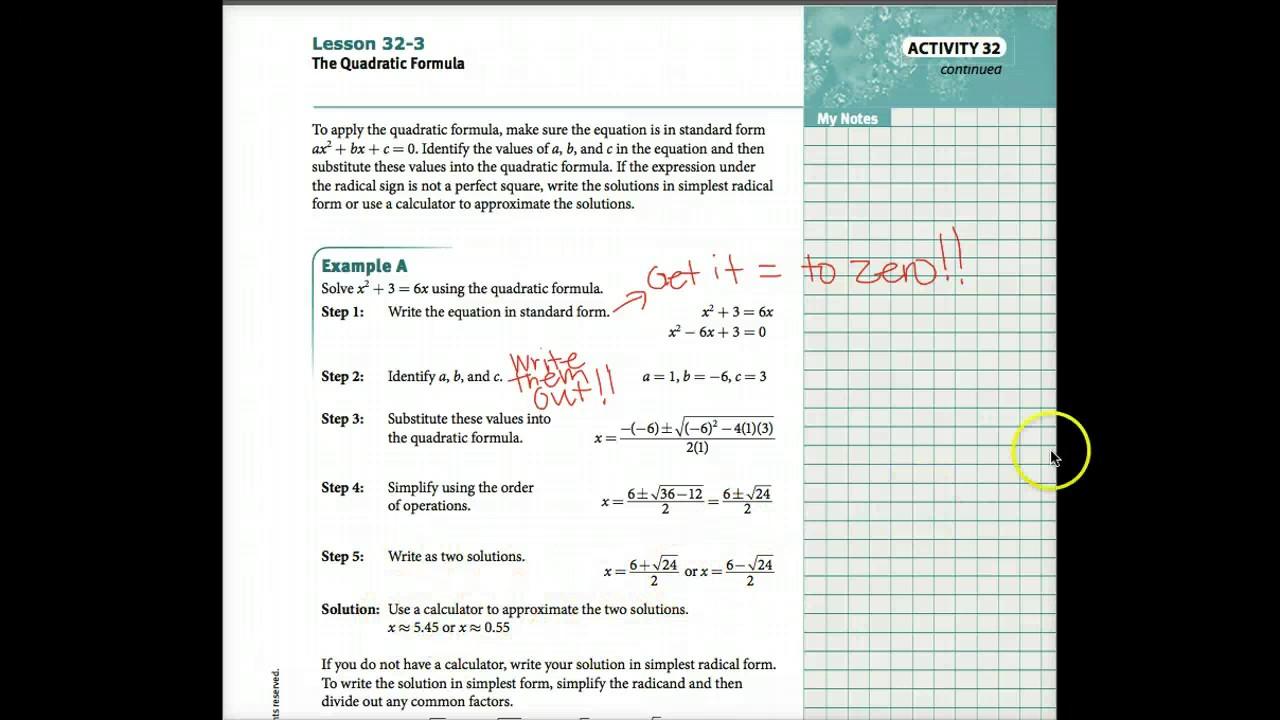 Lesson 32 3 the quadratic formula youtube lesson 32 3 the quadratic formula falaconquin