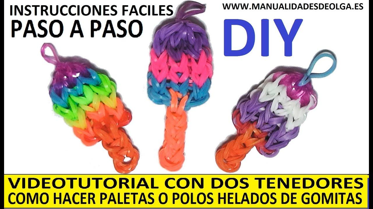 COMO HACER PALETAS O POLOS HELADOS DE GOMITAS (LIGAS) CHARMS CON DOS  TENEDORES  TUTORIAL DIY