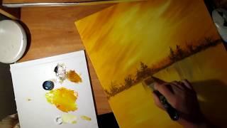 Научиться рисовать мастихином зимний пейзаж.