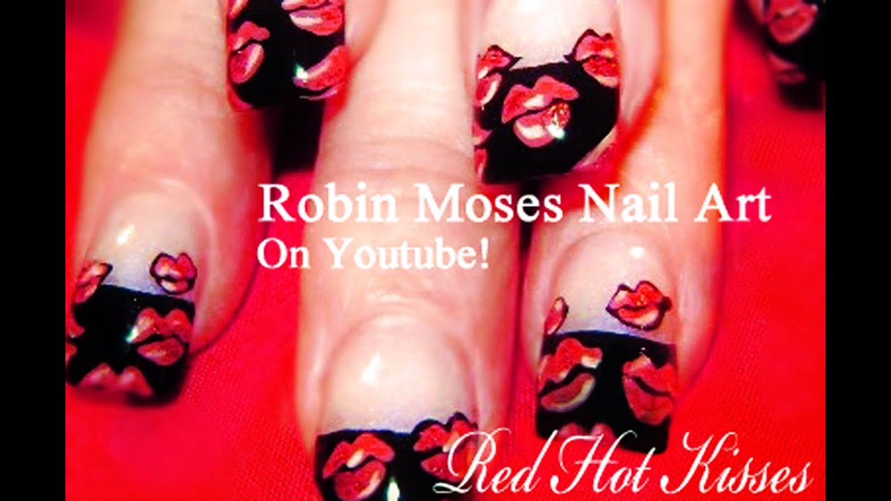 Red Hot Lips Nail Art Design | French Kiss Nails Tutorial - YouTube