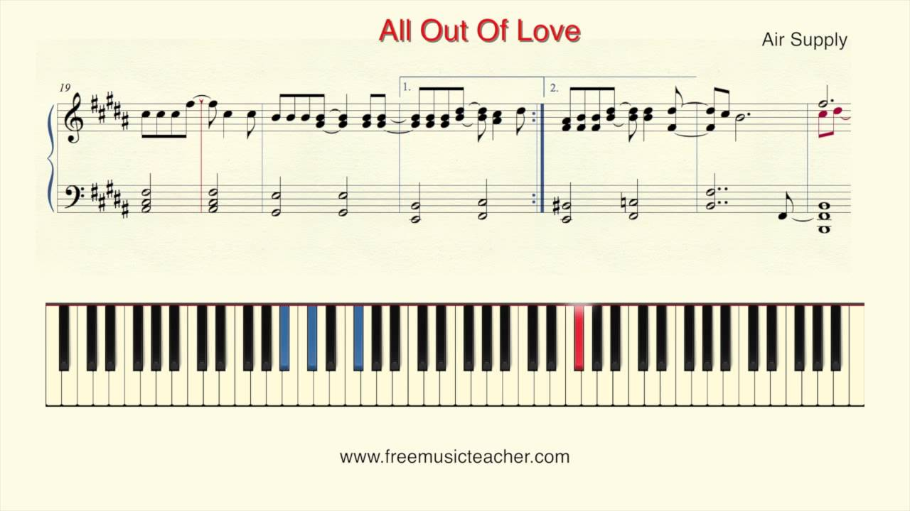 How To Play Piano Air Supply All Out Of Love Youtube