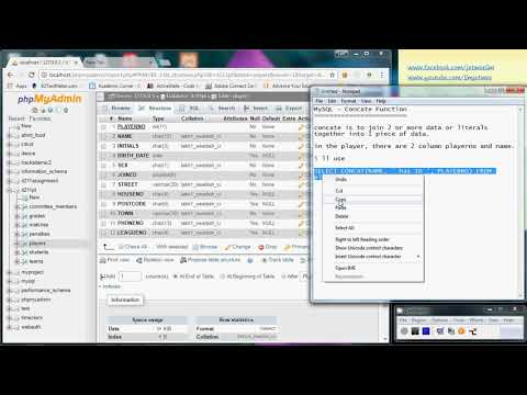 MySQL - Concat (Concatenation) Function