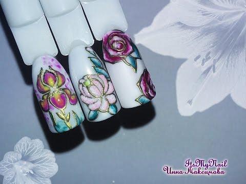 дизайн ногтей с цветами фото гель лак