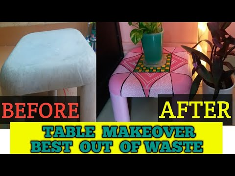 plastic-table-makeover😊reuse-you-old-table-into-new-look