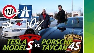 Porsche Taycan 4S vs Tesla Model S Raven: Reichweite bei 120 kmh bis Akku leer! EPA & WLTP Vergleich