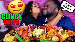 CLINGY WIFE PRANK + HUGE SEAFOOD BOIL MUKBANG (LOBSTER, PRAWN, MUSSEL) QUEEN BEAST FT BEAST MODE