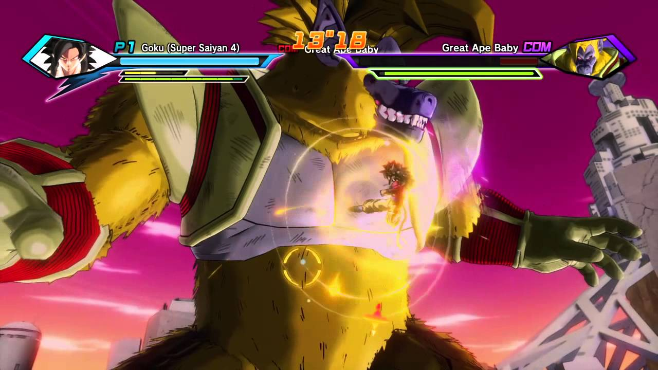 dragon ball xenoverse super saiyan 4 goku vs great ape baby youtube