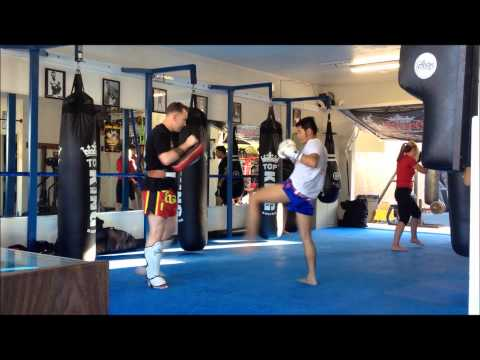 Kornpet pad work with Bryan Popejoy | Muay Thai in Torrance Boxing Works 310-371-1500