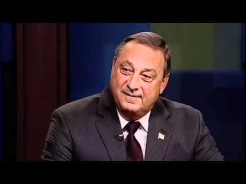 Paul LePage on the set of Maine Watch