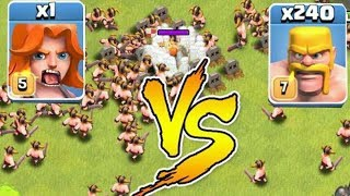 LVL5 Valkyrie vs level 7 Barbarian | Clash of Clans