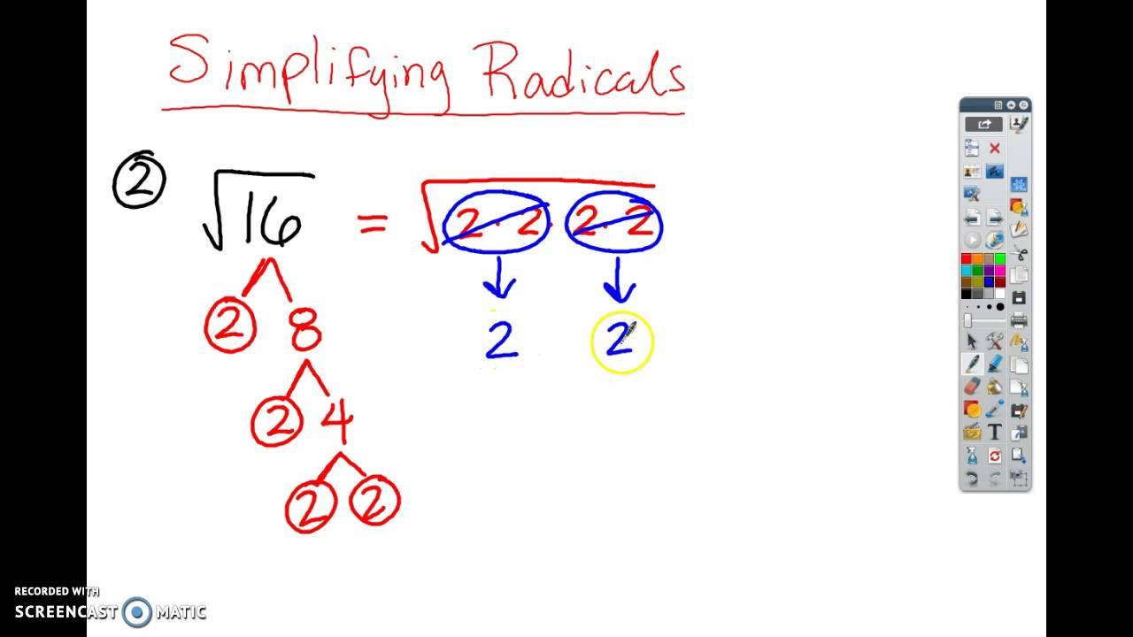 Simplifying Radicals Worksheet Examples YouTube – Simplifying Radicals Worksheet