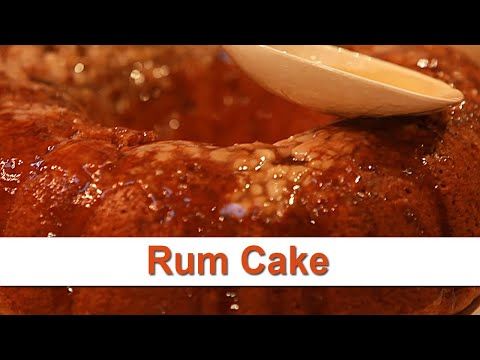 Rum Cake with Walnuts and Glaze on top recipe demonstration