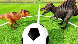 T-REX vs СПИНОЗАВР. Стегозавр vs Трицератопс.ФУТБОЛ- Игра Beast Battle Simulator # 3