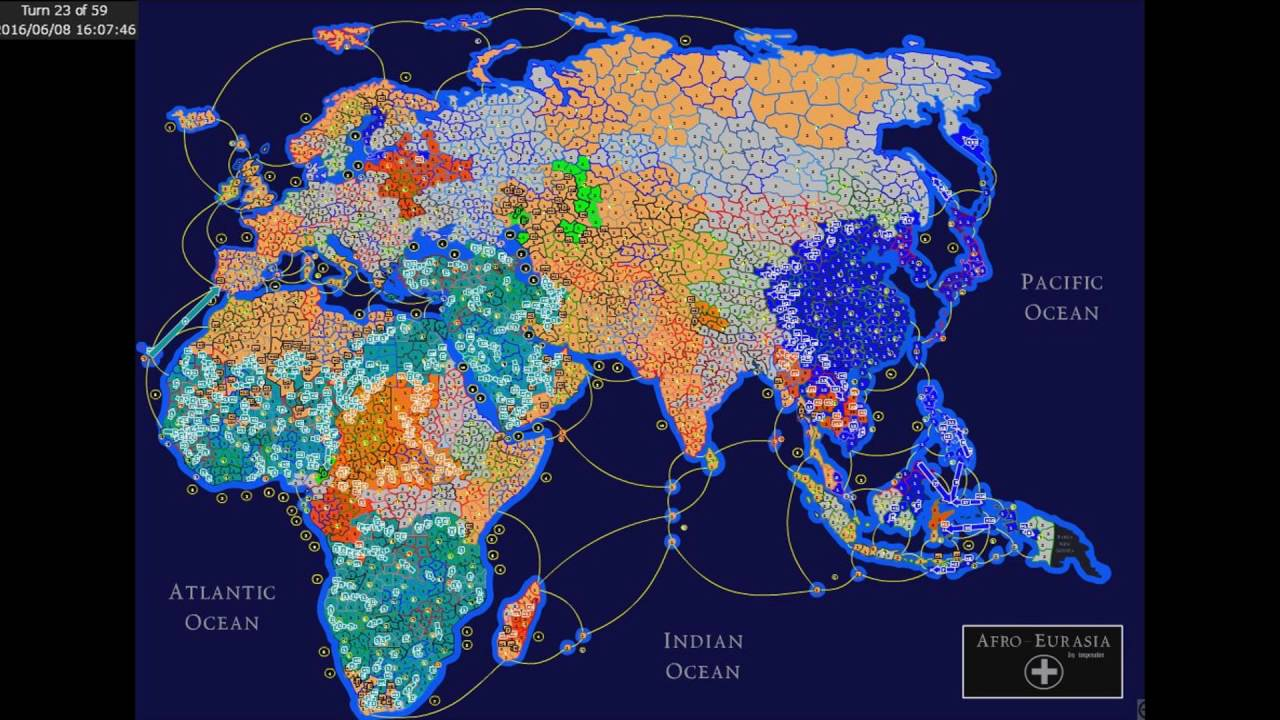 Europe Africa Asia Indonesia Map Risk Game Won Blue Color