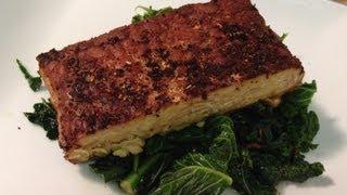 Blackened Tempeh Recipe W/ Spicy Steamed Kale & Spinach - Hasfit Vegan Recipes Vegetarian