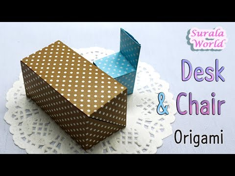 Origami - Desk & Chair (miniature, DIY)