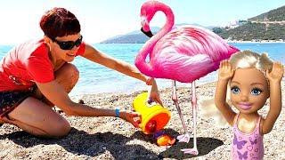 Фламинго на пляже - Маша Капуки и барби - Видео для девочек.