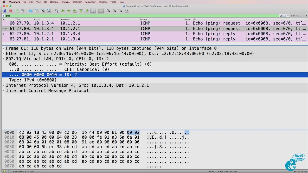 GNS3 switching setup and options Part 6: Etherswitch, Wireshark, 802 1Q,  InterVLAN routing