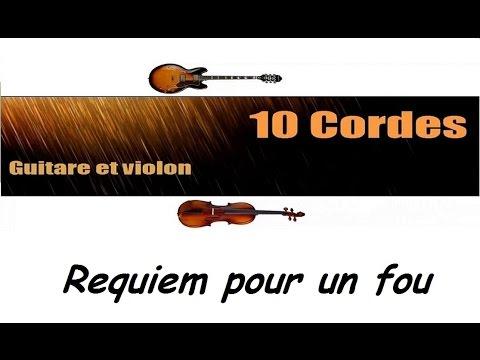 10 cordes - Requiem pour un fou - Johnny Hallyday - guitare violon cover + partitions