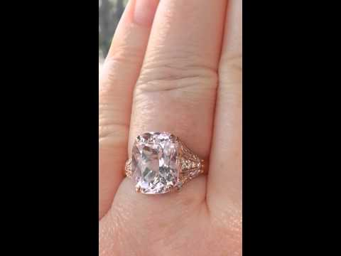 Peachy Pink Morganite in Rose Gold Iris Diamond Engagement Ring