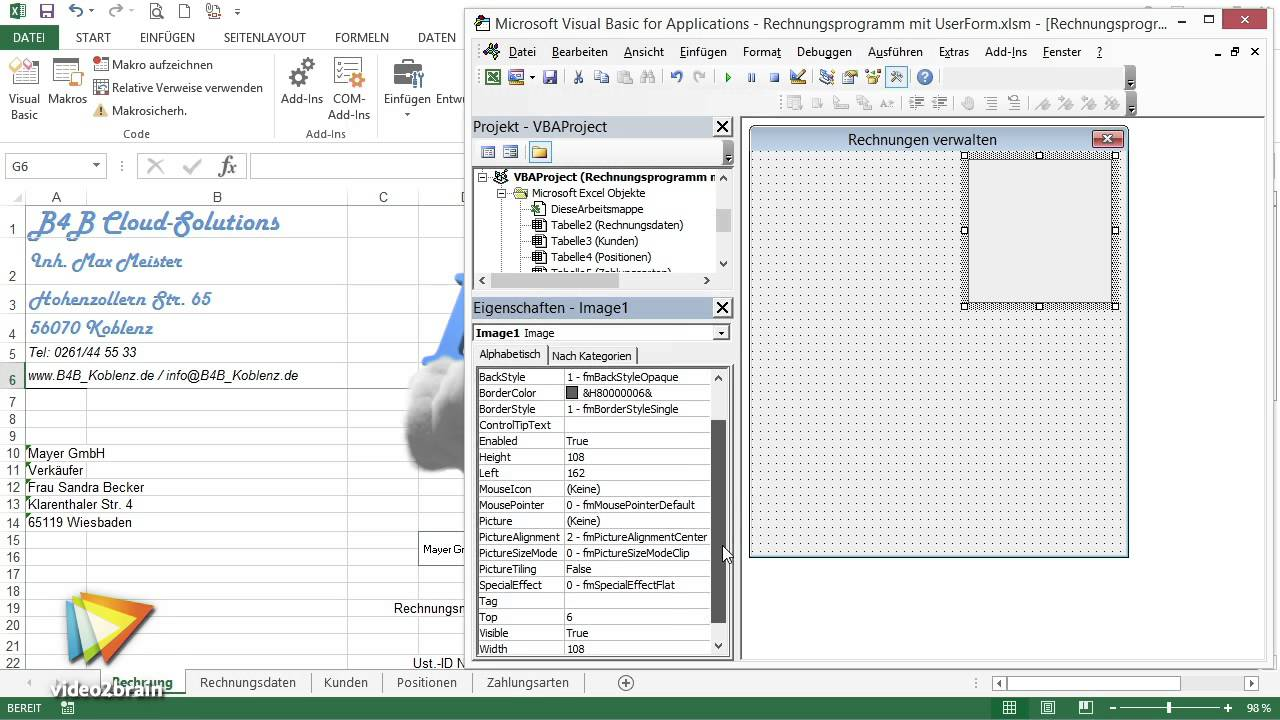 Excel Vba Workshop Komfortables Rechnungsformular Tutorial Aufbau
