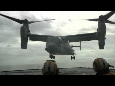 MV-22 Osprey Landing on a Landing Ship Dock
