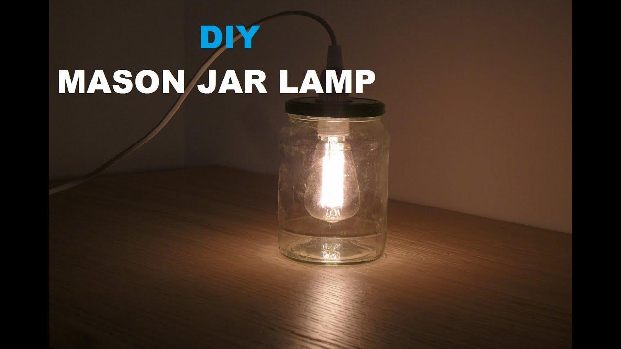 diy make a mason jar light latern lampe aus einmachglas selber machen youtube. Black Bedroom Furniture Sets. Home Design Ideas