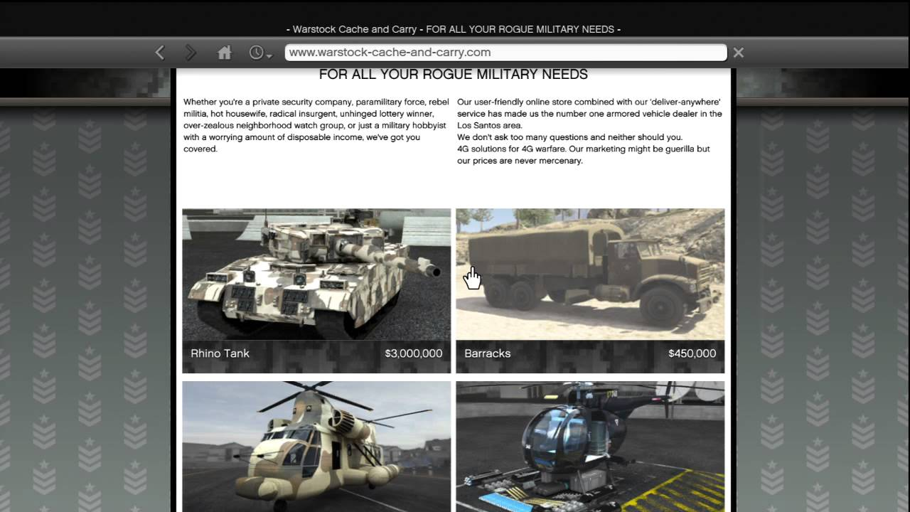 gta 5 how to buy all military vehicles rhino tank barracks buzzard cargobob warstock website. Black Bedroom Furniture Sets. Home Design Ideas