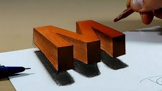 Try to do 3D Trick Art on Paper, floating letter M