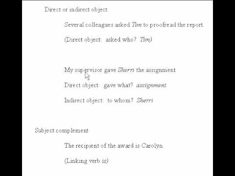 Direct Object, Indirect Object, Subject Complement - YouTube