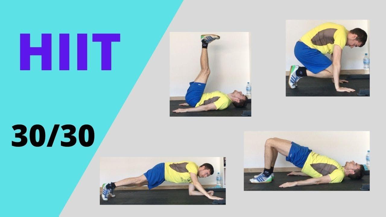Rutina HIIT 30/30 | Glúteos, abdominales, pectorales y tríceps | 4 ejercicios, 4 rondas