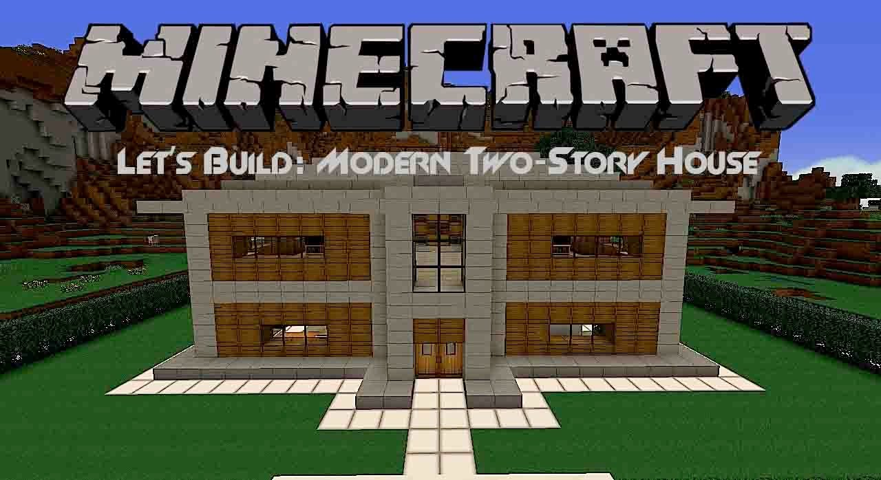 Let 39 s build modern two story house in minecraft youtube for Cheapest 2 story house to build