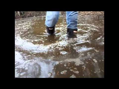 Black rubber boots Hunter in the water....