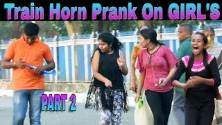 Train Horn Prank On Girl