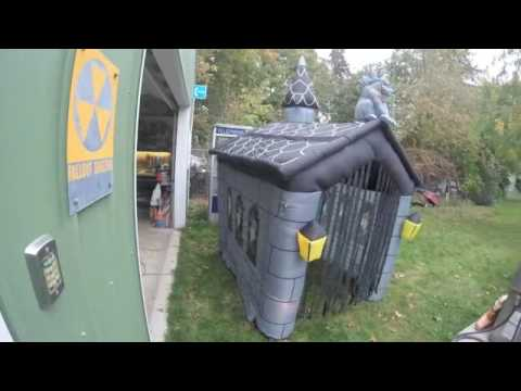 vintage halloween haunted house inflatable with motion detection lights sound
